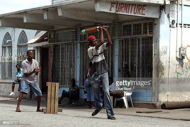Locals participate in a street cricket match on May 2 2010 in Georgetown Guyana Guyana is one of the locations across the West Indies which are...