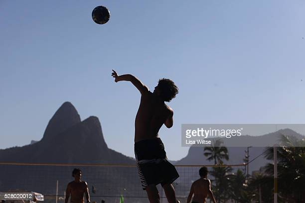 Locals play foot volley a hybrid game combining beach volley ball and football at Copacabana beach Rio de Janeiro Brazil July 5 2010 Photo by Lisa...
