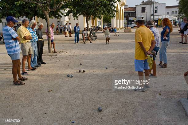 Locals playing game of petanque.