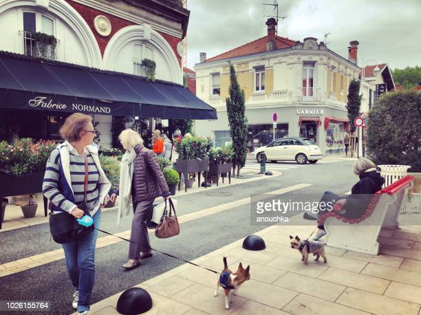Locals walking their dogs in Arcachon city center, France