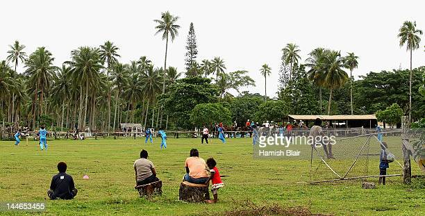 Locals watch the action during the 5th v 6th match between Fiji and Cook Islands played at Club Hippique during the ICC East Asia Pacific Women's...