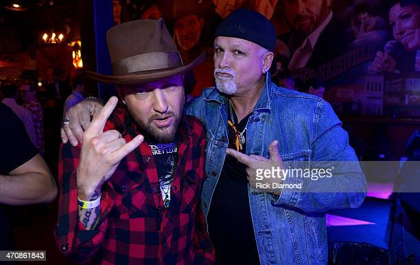 LoCash Cowboys' Preston Brust and Derek St Holmes of the Ted Nugent Band attend the 50th Anniversary Of Buddy Lee Attractions at The Stage On...