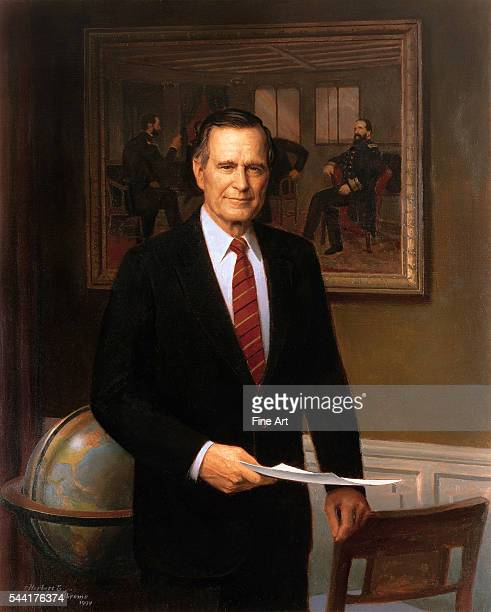 Located in the White House Washington DC USA Unveiled in 1995 The painting in the background is The Peacemakers by George P A Healy