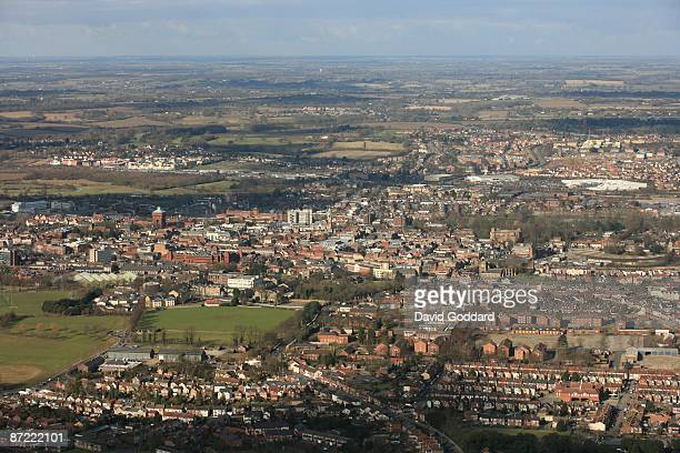 Located on the River Nene is the cathedral city of Peterborough in this aerial photo taken on 12th February 2009