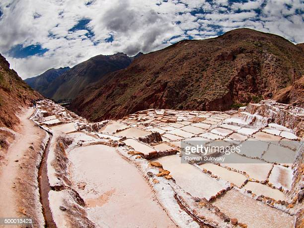 Located some 60 km from Cuzco and 7km from Moray, these salt pans are still used today to crystallize salt from water.