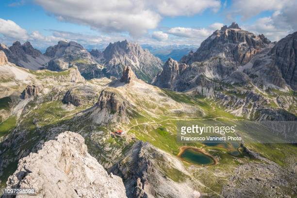 locatelli hut at tre cime di lavaredo from monte paterno. - dolomites stock pictures, royalty-free photos & images