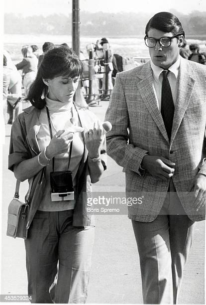 TORONTO ON SEPTEMBER 19 Location filming of Superman II at Niagara Falls Margot Kidder and Christopher Reeve are shown on set