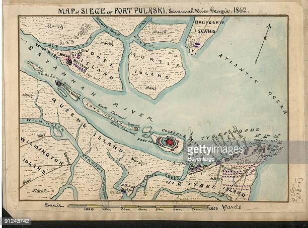 location of Jones Island Turtle Island and Daufuskie Island on the north edge of the Savannah River and Querns Island Wilmington Island and Big Tybee...