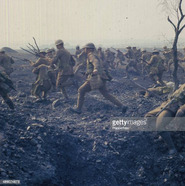 Location view of actors taking part in a recreation of a World War One battle scene for the television drama series 'Inheritance Battle Of The Somme'...