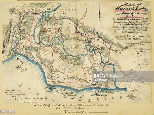 locations along the James River of the camps of the US Army of the Potomac after the Seven Days' Battles 25 June1 July 1862 Also shows locations of...
