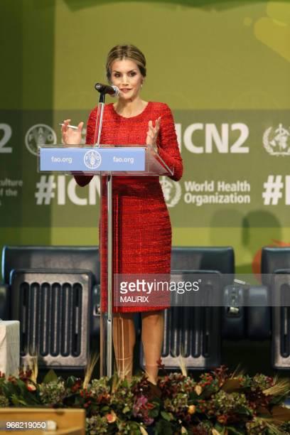 A loccasion de la seconde conférence internationale sur lalimentation la reine Letizia d'Espagne sest rendue le 20 novembre 2014 au siège de la FAO...