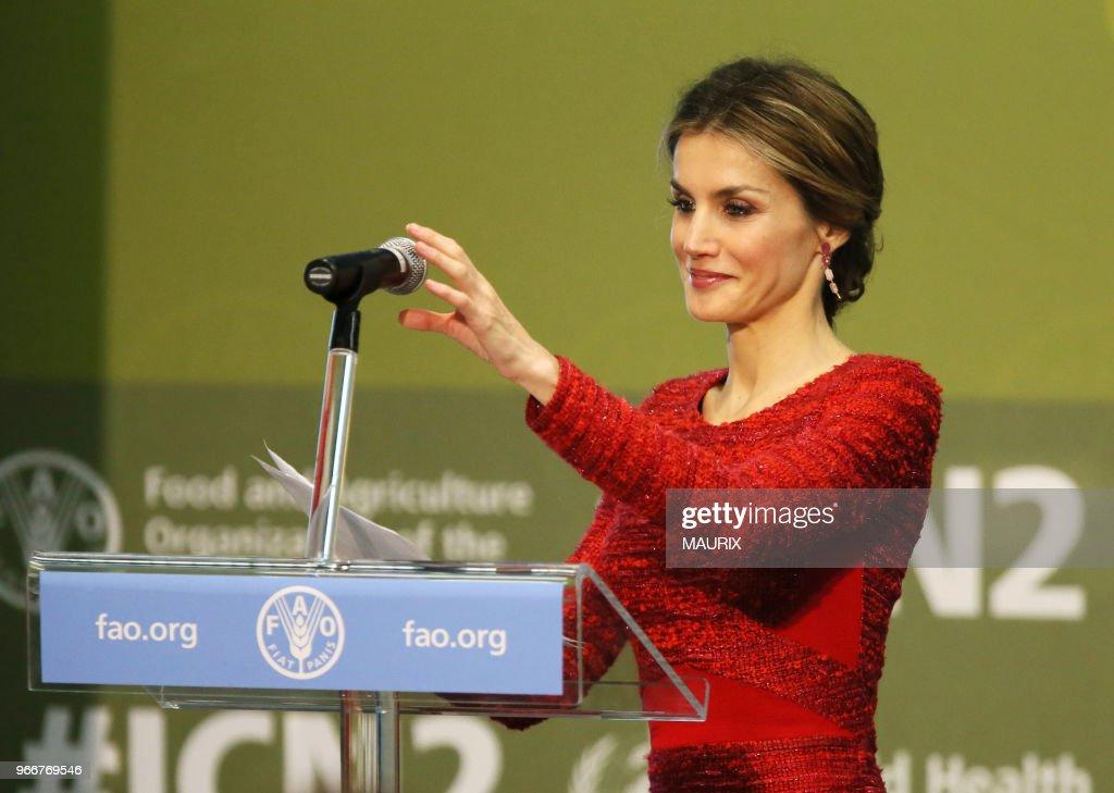 Le reine Letizia d'Espagne à la FAO - Rome : News Photo