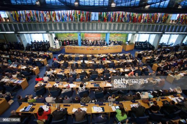 A loccasion de la seconde conférence internationale sur lalimentation le Pape François sest rendu le 20 novembre 2014 au siège de la FAO...