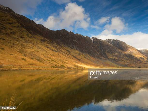 loch achtriochtan, glencoe. - argyll and bute stock photos and pictures