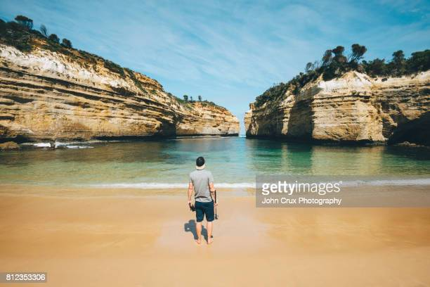 loch ard gorge backpacker - victoria australia stock pictures, royalty-free photos & images