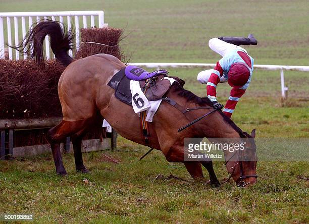 Loch Ard ridden by ridden by Miss S Gould falls at the last at Barbury Racecourse on December 6 2015 in Barbury England