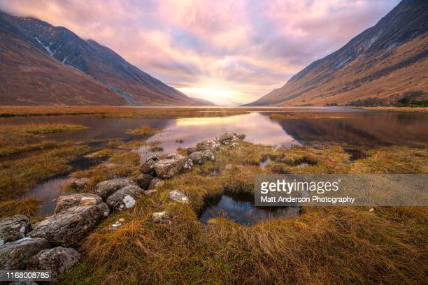 loch etive sunrays - scotland stock pictures, royalty-free photos & images
