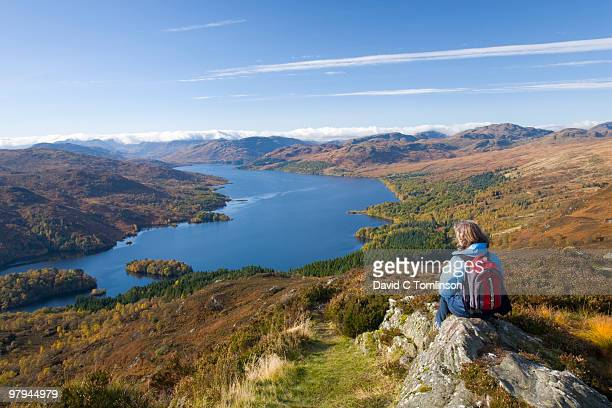 loch katrine from ben a'an, trossachs, scotland - glasgow scotland stock pictures, royalty-free photos & images
