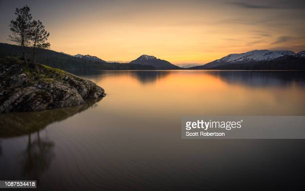 loch laggan reservoir, scotland. - construction barrier stock pictures, royalty-free photos & images