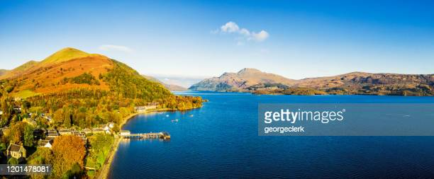 loch lomond - autumn aerial panorama - central scotland stock pictures, royalty-free photos & images