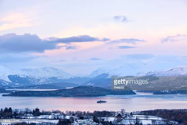 loch lomond in winter - theasis stock pictures, royalty-free photos & images