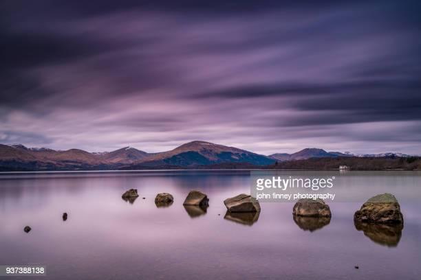 Loch Lomond, Milarrochy Bay rocks, Scottish Highlands. UK.