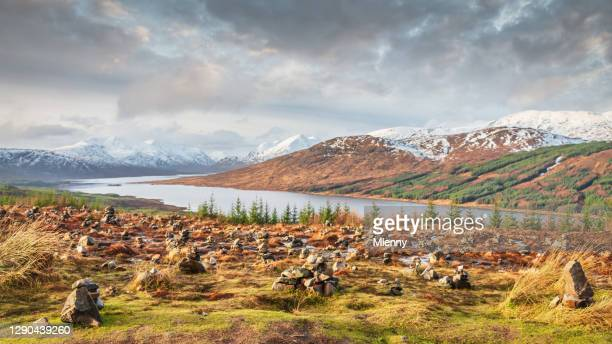 loch loyne cairns scottish highlands winter panorama scotland uk - landscape scenery stock pictures, royalty-free photos & images