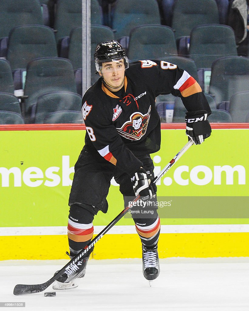 Loch Morrison #8 of the Calgary Hitmen skates against the Prince Albert Raiders during a WHL game at Scotiabank Saddledome on December 3, 2015 in Calgary, Alberta, Canada.