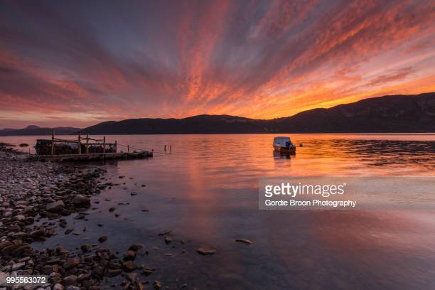 a loch ness glow. - loch ness stock photos and pictures