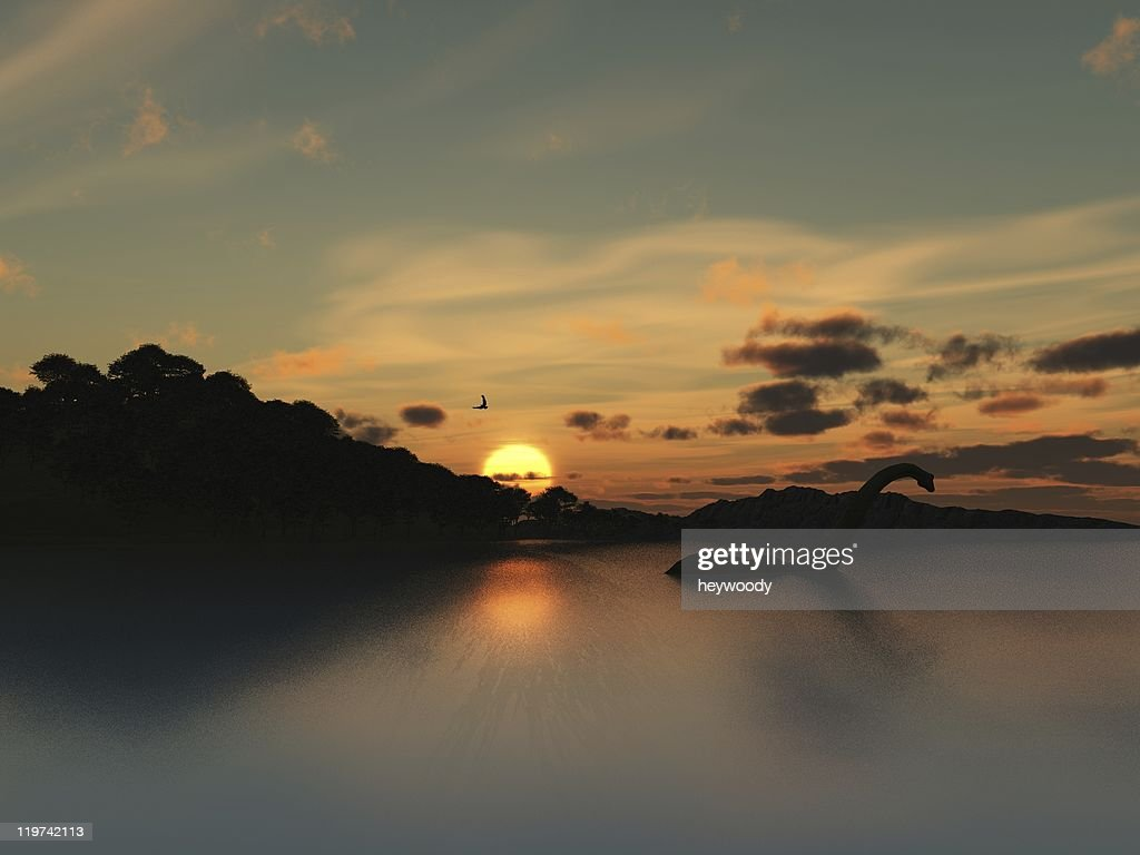 loch ness monster in silhouette stock photo getty images