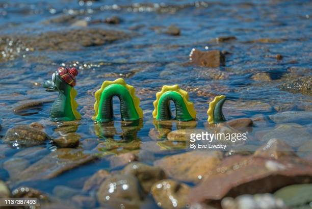 loch ness monster spoof - loch ness monster stock pictures, royalty-free photos & images