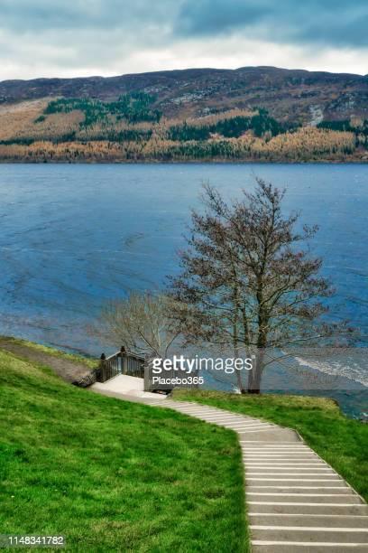 loch ness, scottish highlands near drumnadrochit, uk - drumnadrochit stock pictures, royalty-free photos & images