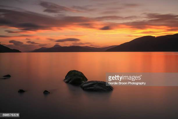 a loch ness sunset. - drumnadrochit stock pictures, royalty-free photos & images