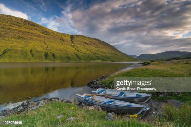 loch scardroy reflections. - brown trout stock pictures, royalty-free photos & images