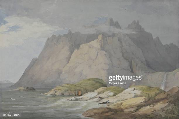 Loch Scavaig, Isle of Skye, William Daniell, 1769–1837, British, ca. 1819, Watercolor with gouache and scraping over graphite on medium, slightly...