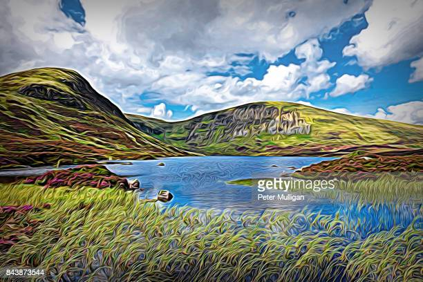 loch skeen with reeds on the shoreline and surrounding mountain range; dumfries and galloway, scotland. - galloway scotland stock pictures, royalty-free photos & images