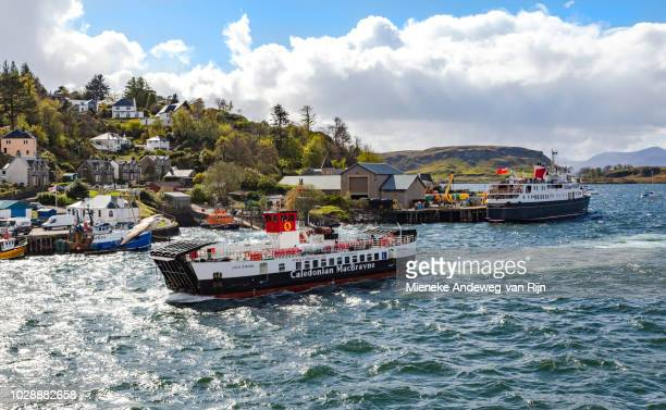 Loch Striven ferry approaching  Oban port from Lismore ( Inner Hebrides ) in choppy waters, Argyll and Bute, Scotland, United Kingdom.