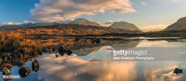lochan na h-achlaise reflections panoramic #1 - 4k resolution stock pictures, royalty-free photos & images