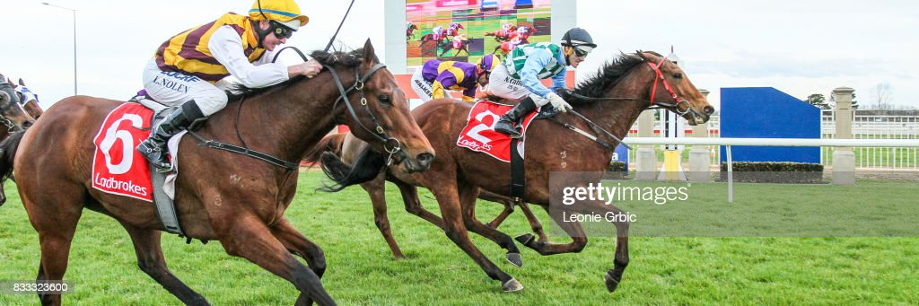 Lochend Ocky ridden by Noel Callow wins the Sale Water Specialists BM64 Handicap at Sale Racecourse on August 17, 2017 in Sale, Australia.