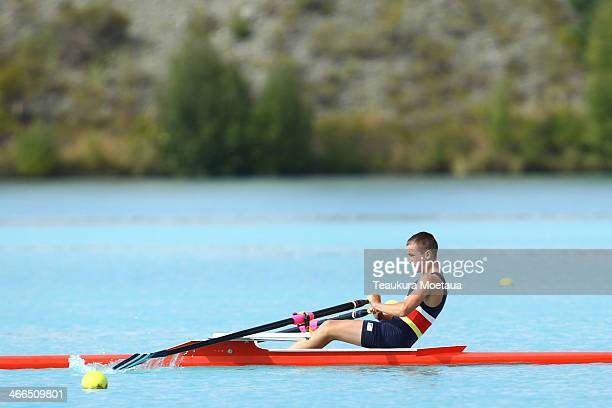 Lochie Chittock of Otago competes in the Boys under16 single sculls final during the South Island Club Championships at Lake Ruataniwha on February 2...