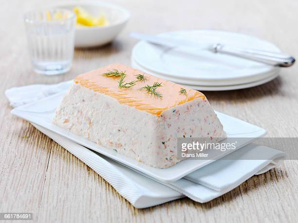 lochmuir salmon terrine, close-up - pate stock photos and pictures