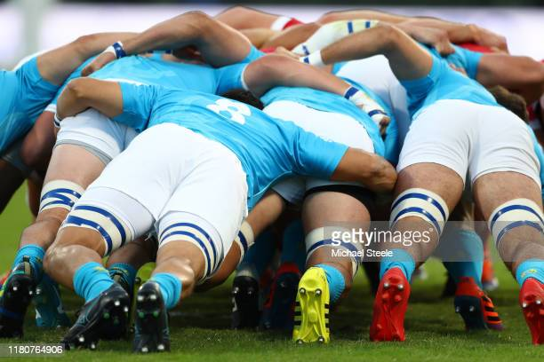 Lock Alejandro Nieto of Uruguay weighs in at the scrum during the Rugby World Cup 2019 Group D game between Wales and Uruguay at Kumamoto Stadium on...