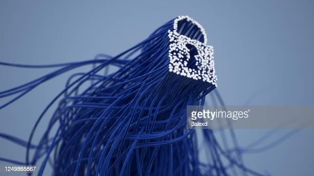 serratura e filo - sicurezza di rete foto e immagini stock