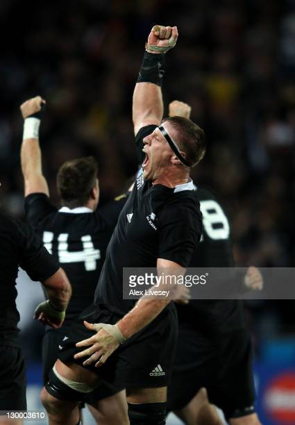 Lock Brad Thorn celebrates following his team's 8-7 victory as the final whistle during the 2011 IRB Rugby World Cup Final match between France and...