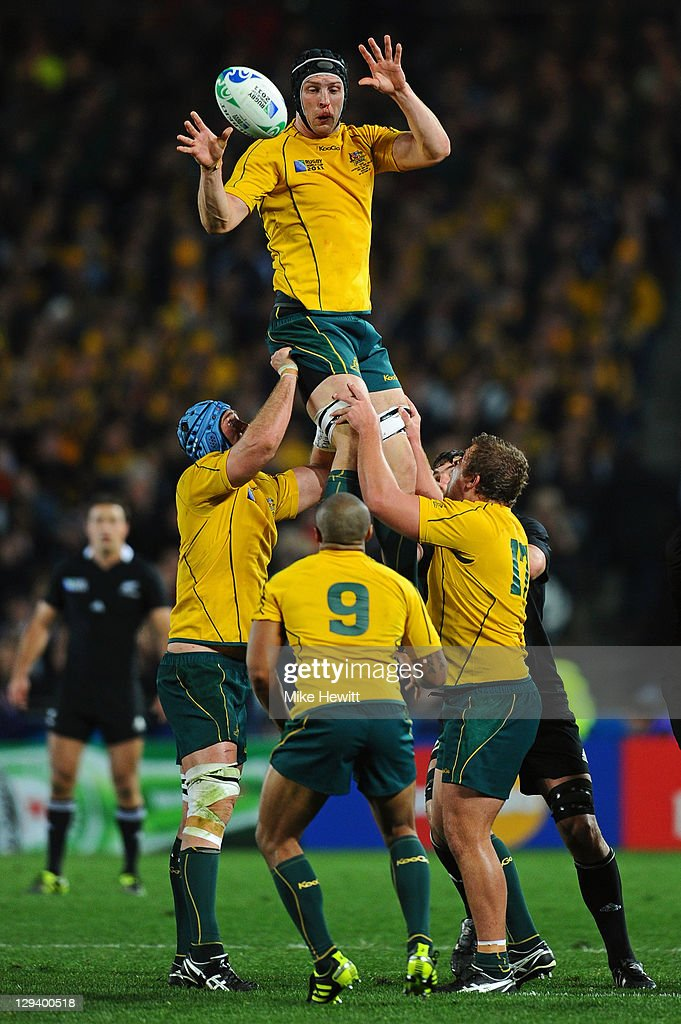Lock Dan Vickerman of the Wallabies wins lineout ball during semi final two of the 2011 IRB Rugby World Cup between New Zealand and Australia at Eden Park on October 16, 2011 in Auckland, New Zealand.
