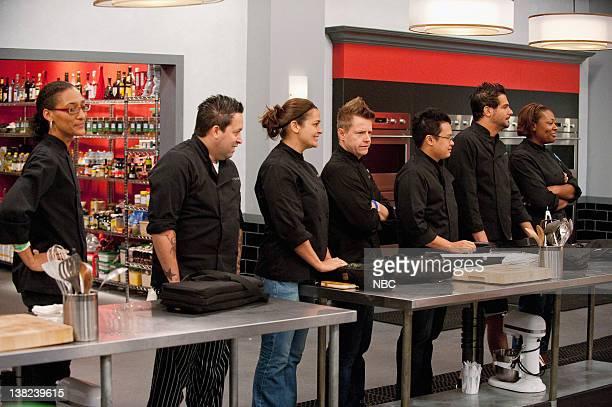 "Lock Down"" Episode 810 -- Pictured: Contestants Carla Hall, Mike Isabella, Antonia Lofaso, Richard Blais, Dale Talde, Angelo Sosa, TIffany Derry"