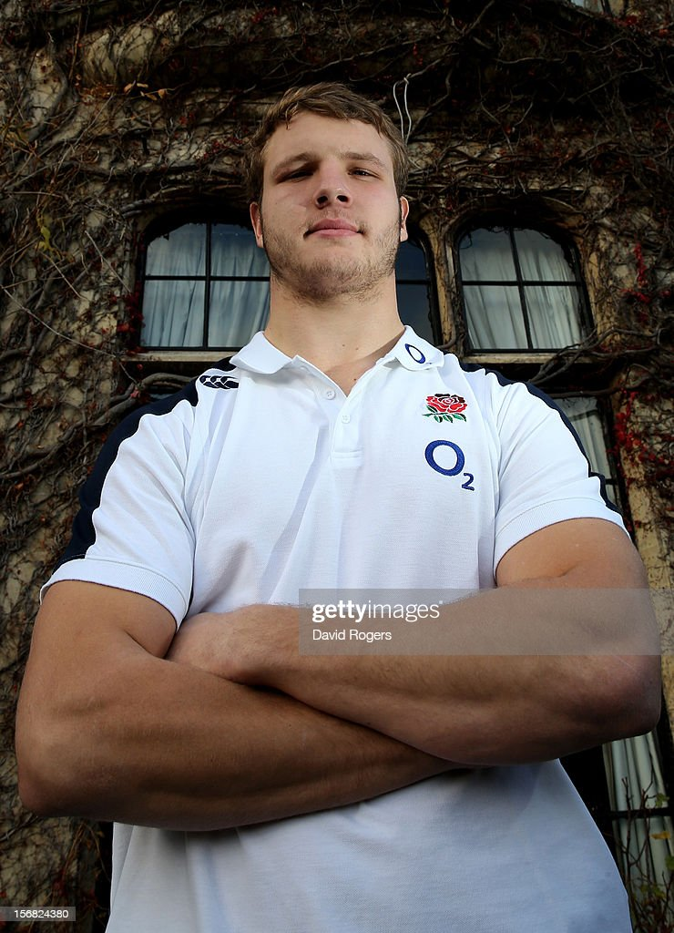 Lock forward Joe Launchbury poses following the England training session at Pennyhill Park on November 22, 2012 in Bagshot, England.