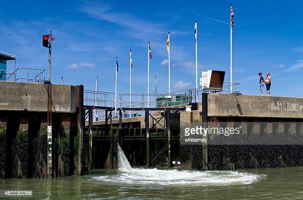lock gates opening - suffolk england stock photos and pictures