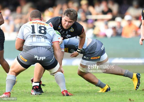 Lock Le Roux Roets of the Sharks vies with lock Wilco Louw of the Stormers during the Super Rugby match between the Sharks of Durban and the Stormers...