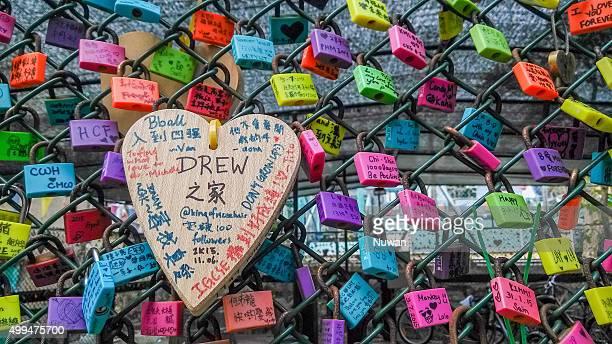 Lock of love wall in Cheung Chau Island  in Hong Kong